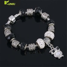 KUNIU Charms Beads Owl Love bracelet Silver Crystal Big Hole Beads Fashion Bracelets Bangles for Women Valentine's Day Gift