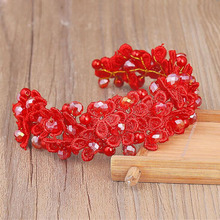 MHS.SUN New Red Crystal Lace flower hair accessories Wedding hair ornaments Rhinestone Head piece Bridal hair decoration TN1089