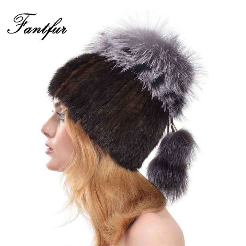 FANTFUR 2017 Winter Women Knitted Genuine Mink Fur Hat With Large Silver Fox Fur Pom Poms Beanies Natural Fur cap Russia StyleОдежда и ак�е��уары<br><br><br>Aliexpress