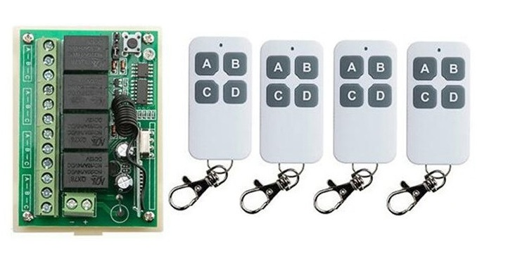 NEW DC12V 4CH 4Channe 10A RF wireless remote control switch System, 4 X Transmitter + 1 X Receiver,315/433 MHZ<br><br>Aliexpress