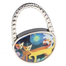 Hang Hook Handbag Yellow Orange Cat Oval Metal bag holder