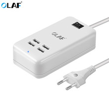 Olaf EU plug 15W 4 Ports USB Desktop Charger AC Power Adapter 1.5M long cable For iPhone 7 6 iPad Samsung Xperia Charging Device