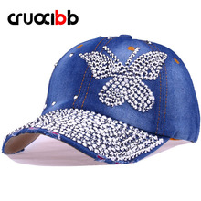 CRUOXIBB Fashion Crystal Butterfly Denim Baseball Cap Women Hat Rhinestone Snapback Caps For Women Leisure Casquette Caps
