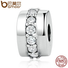 BAMOER 100% 925 Sterling Silver Shining Path, Clear CZ Clip Charms fit Bracelets & Bangles Women Fashion Jewelry PSC032(China)