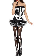 2016 New Night Club sexy Fever Halterneck Sleeveless Skeleton Halloween Costume LC8899 Halloween Day(China)