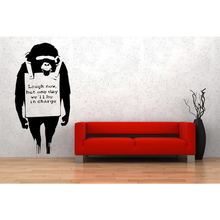 Free Shipping Fascinating Art Vinyl Decal Mural Stickers Banksy Monkey Laughing Exclusive Living Room Wall Stickers
