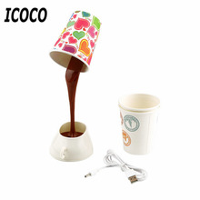 ICOCO Creative DIY Coffee Cup Lampshade LED Down Night Lamp Home USB Battery Power Table Light for Study Room Bedroom Decoration