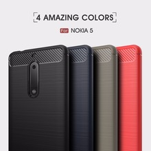Luxury Hybrid Slim Armor Case for Nokia 5 Carbon Fiber Texture Brushed Soft Cover for nokia heart TA-1008 TA-1030 Fundas Coque