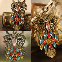 2014 the new vintage inspiration colorful rhinestones bronze owl pendant necklace long chain jewelry
