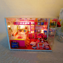 M002 hongda diy dollhouse miniature Girl's bedroom wooden doll house include furniture,Light,dust cover