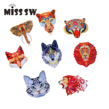 Acrylic Printing Brooch Cat Leopard Elephant Lion Fox Lion Wolf Tiger Brooches Cute Brooch Animal Jewelry For Women Best Gift(China)