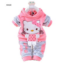 New Baby Girls Hello Kitty Clothing Sets Kids Autumn Character Cotton Long Sleeve Shirt + Pants 2 Piece Children Clothing Set(China)