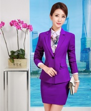 Formal Ladies Purple Blazers Women Business Suits Formal Office Suits Work Wear Uniforms Skirt and Jacket Sets Elegant
