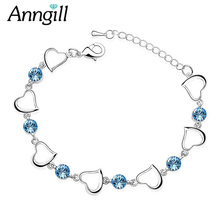 Anngill Crystals from Swarovski Heart Charm Bracelet & Bangle Love Women Wedding Jewelry Valentine's Day Gift Drop shipping