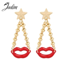 JOOLIM Jewelry Wholesale/Red Lips 2 Chains Dangle Earring Women Accessories Cloisonne earrings(China)