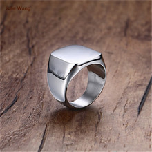 Julie Wang Wholesale Black Silver Tungsten Steel Personality Rectangle Rings Men Ring  Gift Celebration Party Rings
