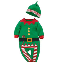 2017 Baby rompers One-piece Costumes infant long sleeve spring autumn baby wear romper + hat clothing set Christmas Gifts