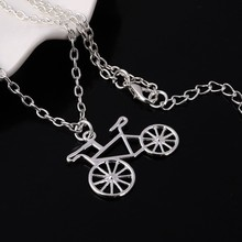 Hesiod Wholesale New Bicycle Pendant Necklace Wheel Earrings Silver Color Jewelry Set for Women(China)
