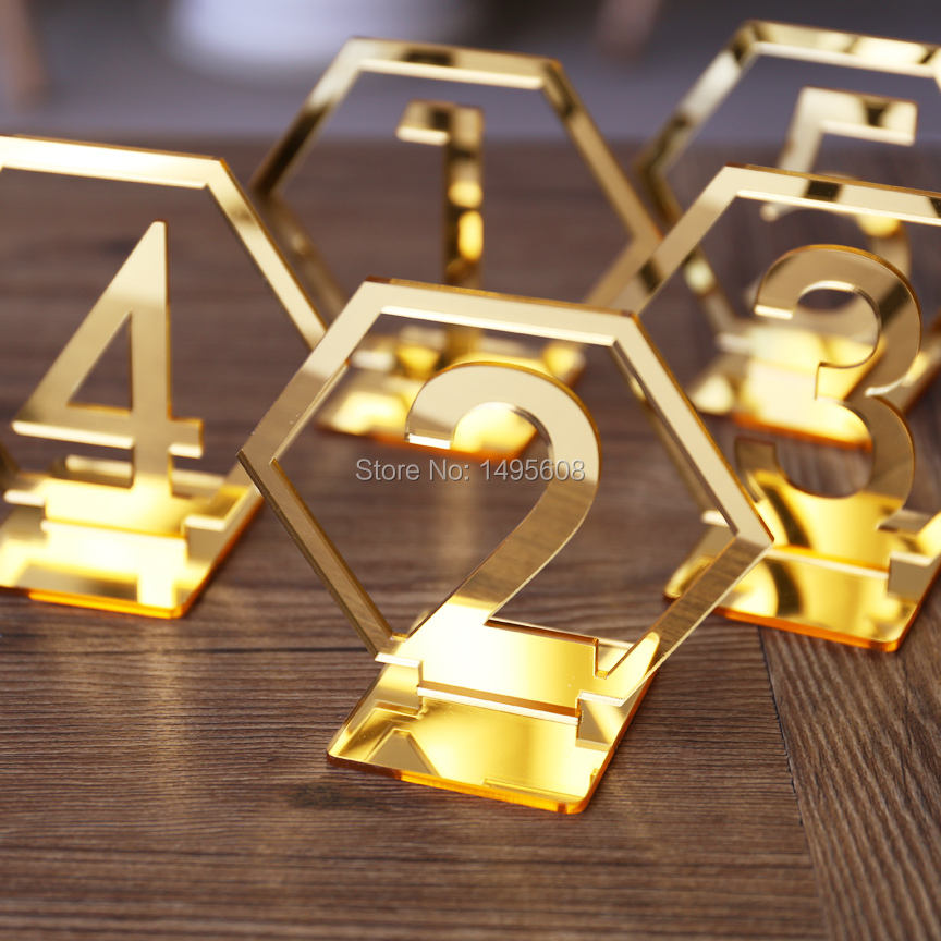 Hexagon-Table-Number-Signs-for-Wedding-Party-Decor-silver-or-Gold-Acrylic-Number-Roman-Numerals-Geometric (1)