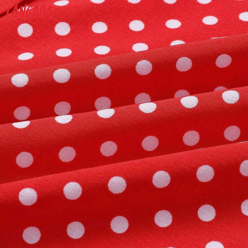 HTB1WUA7vsyYBuNkSnfoq6AWgVXaL - Tangada polka dot dress for women office midi dress 80s 2018 vintage cute A-line dress red blue ruffle sleeve vestidos AON08