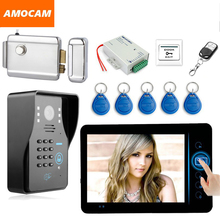 "7"" Wireless Video Door Phone Doorbell Intercom Kit with Electronic Lock password/ID Card /Wireless Remote/ Exit Button for home"
