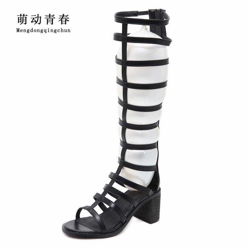 New Women Sandals Fashion Gladiator Knee High Shoes Women Casual Zip Openwork High Heel Sandals Women Summer Black Beige Sandals<br>