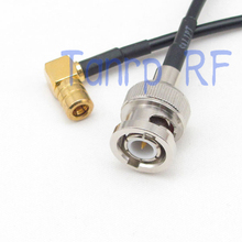 50CM Pigtail coaxial jumper RG174 extension cord cable 20in BNC male plug to SMB female right angle RF connector adapter(China)