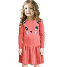 winter Baby girl dresses Cotton Blend kids mini dress Cat Printing Casual Children Princess Long Sleeve O neck cartoon Clothing
