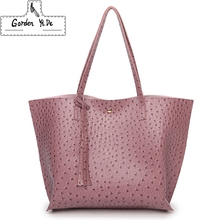 Gorden Yi De Brand Ostrich print leather handbags women's large shoulder bag tassel female casual Tote Bags for women sac a main(China)