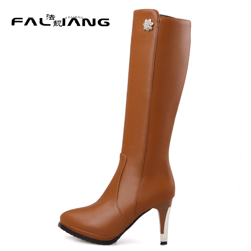 New arrival Winter plus size 11 12 13 14 15 16 17 18 19 20 Fashion Crystal Rough with Knee-High High Heels Winter Boots<br>