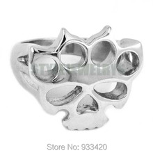 Silver Knuckles Boxing Glove Skull Ring Stainless Steel Jewelry Fashion Motor Biker Men Women Ring Wholesale SWR0417B(China)