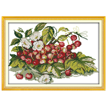 Cherry Fruit Tray Patterns Counted Cross Stitch 11CT 14CT Cross Stitch Sets Chinese Cross-stitch Kits Embroidery Needlework