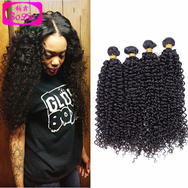 6A Bolin Hair Product Peruvian Virgin Hair Kinky Curly 4 Bundles Curly Natural Virgin Human Hair Weave Afro Kinky Curly Hair #1B<br><br>Aliexpress