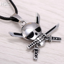 HSIC Hot Anime One Piece Silver Metal Necklace Roronoa Zoro Logo Pendant Cosplay Accessories Jewelry  for Kids Dropshipping