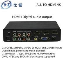 CVBS/YPbPr/VGA/HDMI and USB media to hdmi output Digital audio output CONVERTER 4k 1080P Audio and video times line switches(China)