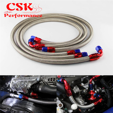 JDM Stainless Steel 10 An Engine Oil Cooler Braided Hose Filter Relocation Hose Black / Silver