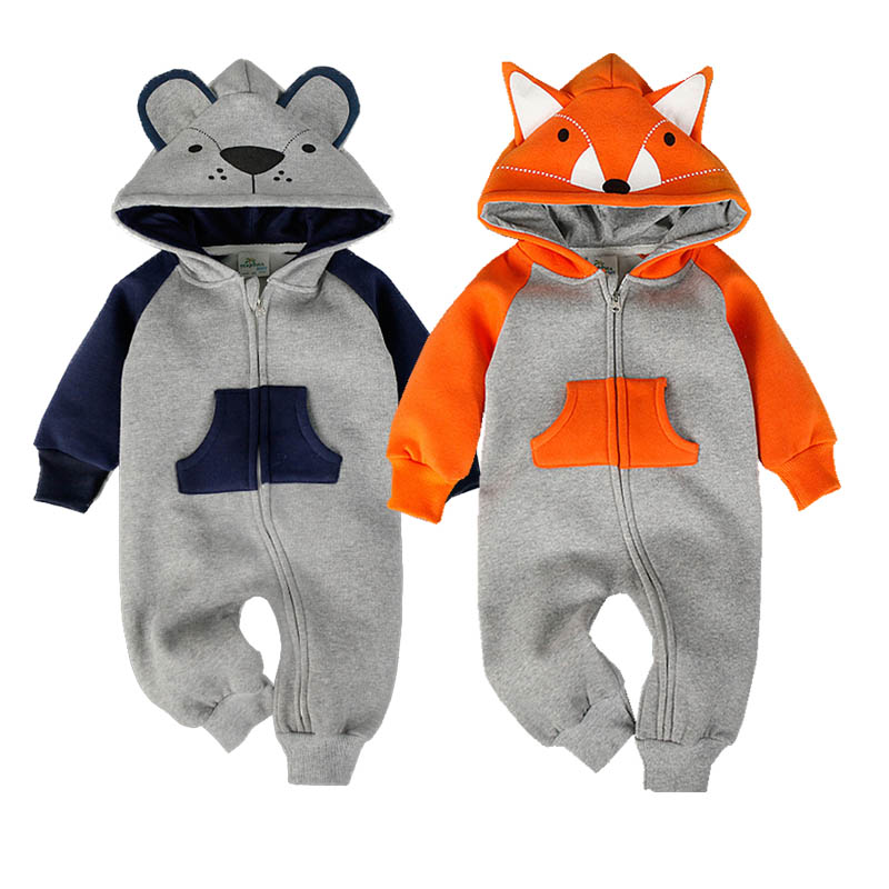 New Fashion Animal Baby Romper Fox Bebe Infant Clothing Baby Boy Girl Clothes Cute Cartoon Bear Winter Warm Jumpsuit Costume(China)