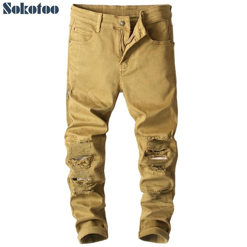 Sokotoo Mens khaki pleated holes ripped biker jeans for motorcycle Zipper distressed slim stretch denim pantsÎäåæäà è àêñåññóàðû<br><br>