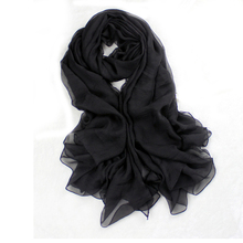 Black Solid Color Chiffon Pashmina Hijab Women Long Large 180*150 cm Scarves Shawls All-Match Volie Stole Chal Mujer Bufanda