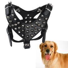 Leather Dog Pet Pitbull Black Spikes Studded Harness Collar For Large Dogs(China)
