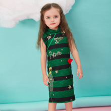 2016 Children's clothes Family Matching Outfits Sequin embroidery collar dresses for Mother and daughter for Christmas