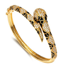 New Trending Product Snake design Fancy jewelry Women High Quality Stylist Fashion Cubic Zirconia Setting CZ Animal Bangles(Hong Kong)