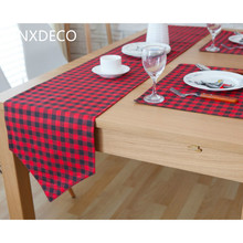 DUNXDECO Modern Red Black Classical Small Check Artistic Linen Cotton Table Runner Placemat Party Tablecloth Kitchen Cover Decor