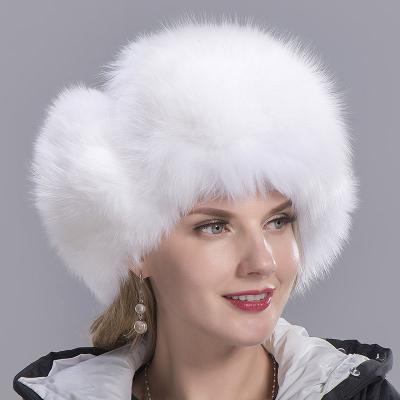 fox fur hat woman white 5