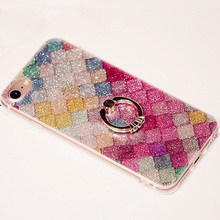 Coque For iPhone 7 Slim Cases Glitter 3D Crystal Soft Plastic Cover Silicon Bling Rhinestone Case For iPhone 6s Stand Cover 6 +(China)