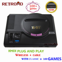 RETROAD HD Video consola de juegos 100 + juegos de alta definición HDMI TV para SEGA MEGA Drive Simulador de MD con wireless gamepad(China)
