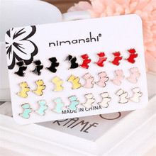 12 Pairs/Set Adorable Style Cartoon Dog Puppy Earrings Cute Mix Color Black/White/Red Enamel Stud Earrings For Girls Boys Gift