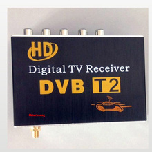 Car DVB-T2 H.264 MPEG4 Mobile External Digital TV Receiver Box with TV Antenna Russian OSD, support PVR function and USB(China)
