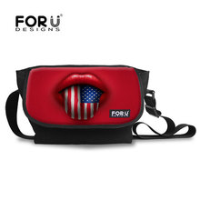 FORUDESIGNS Multi-function USA Flag Pettern Spanish Travel Bags Canvas Messenger Bag for Women Teenager Girls Casual Bags