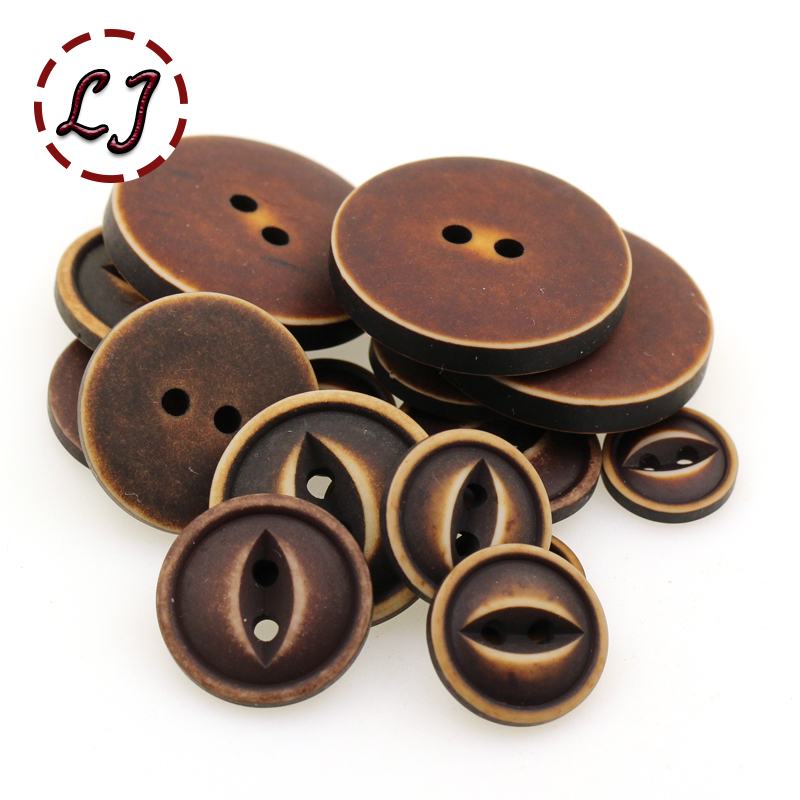 free shipping 30PCS/LOT coffee 2-Holes round Button resin button plastic cloth Fisheye buttons sewing accessory scrapbooking(China)